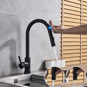 Assistive-Touch-Matte-Black-Swivel-Kitchen-Faucet-Pull-Out-Spray-1Hole-Mixer-Tap