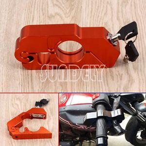 Orange-Motocycle-Handlebar-Brake-Lever-Lock-Security-Anit-Theft-Caps-Lock-AU
