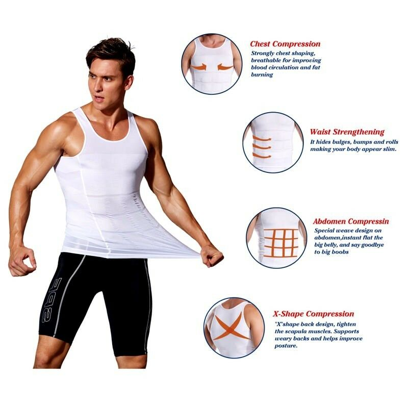 bf7be495dfc1f7 Mens Best Slimming Body Shaper Vest Tank Top Undergarment for Man Boobs  Moobs UK 4 4 of 12 ...