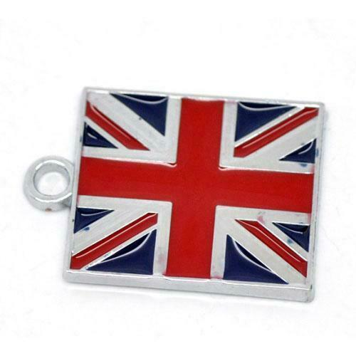 Flag Of Uk Charm//Pendant Enamel /& Alloy Red//Blue 22mm  2 Charms Accessory Crafts