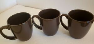 Set-of-3-Corelle-Chocolate-Brown-4-034-Stoneware-Mugs-Cups