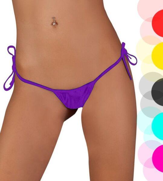 Lau-Fashion Damen Basic Unifarben String Tanga zum Schnüren 6 Farben S/M/L