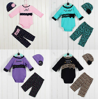 3pcs Girl Baby Infant Newborn Hat+Romper+Pants Trousers Set Outfit Clothing