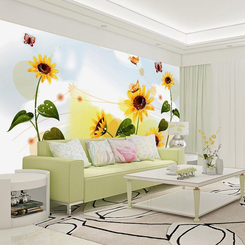 3D Sunflowers Nature 8 Wall Paper Murals Wall Print Wall Wallpaper Mural AU Kyra