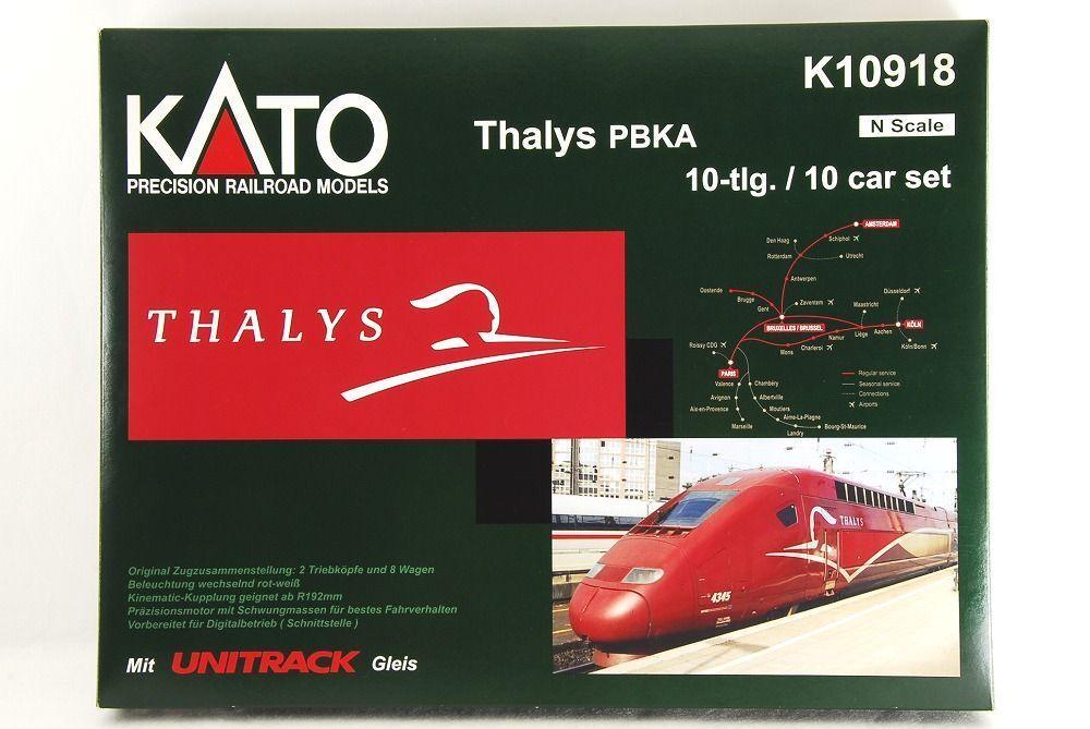 Vuelta de 10 dias Escala N-Kato K10 TGV Thalys PBKA 10 Car Car Car Set con pantalla Unitrack Muy Raro  sin mínimo