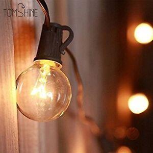 Garden String Lights Mains Powered Outdoor 25Ft Patio Light 28 Clear Bulbs NEW