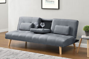 Details about Modern Stylish Sofa Bed Grey Fabric Small 2 Seater Fold Down  & Drinks Holder