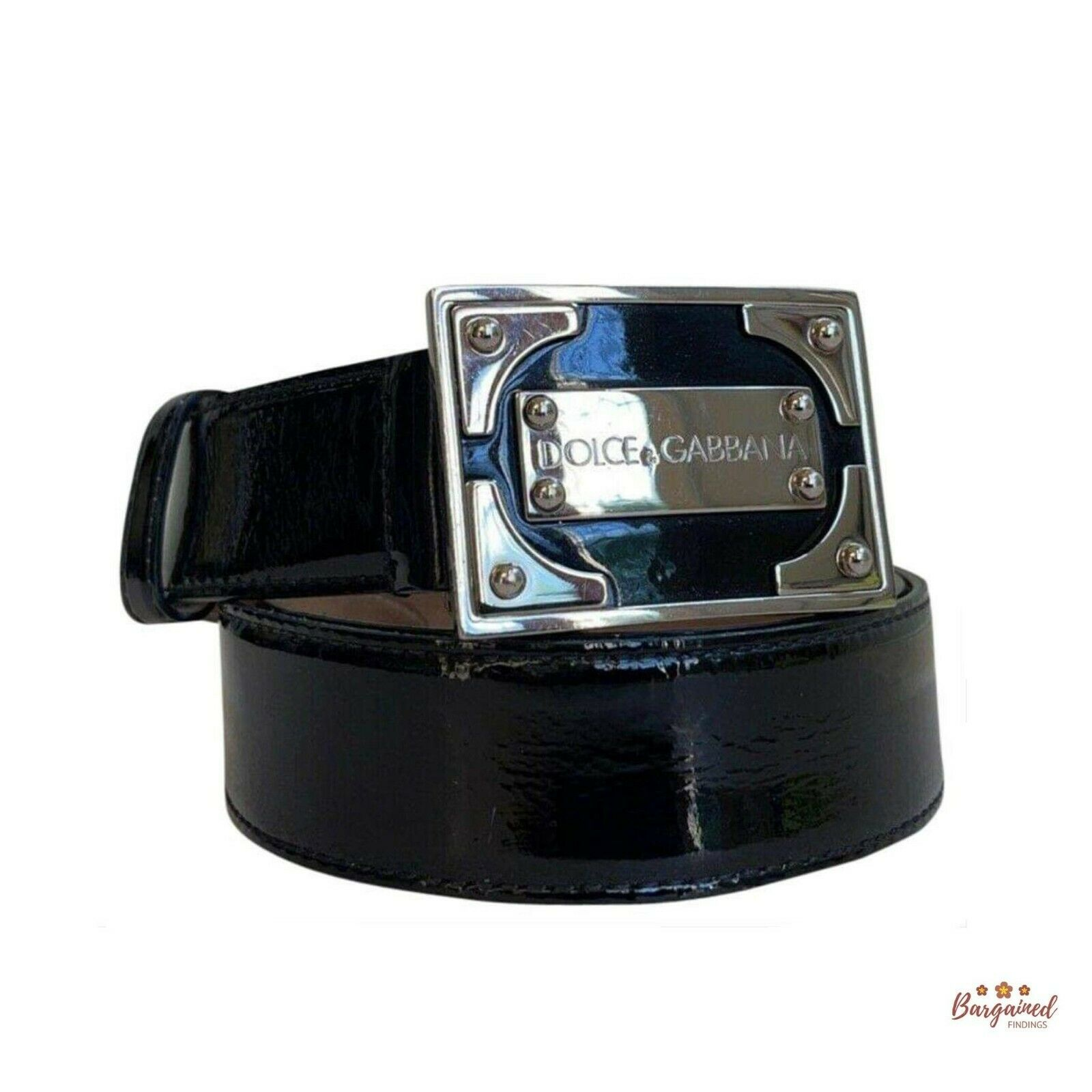 Authentic Dolce & Gabbana Black Patent Leather Silver Buckle Logo Size 32