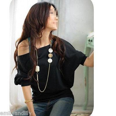 Sexy Fashion Women Casual Short Sleeve Off-Shoulder Top T-Shirt Blouse Black