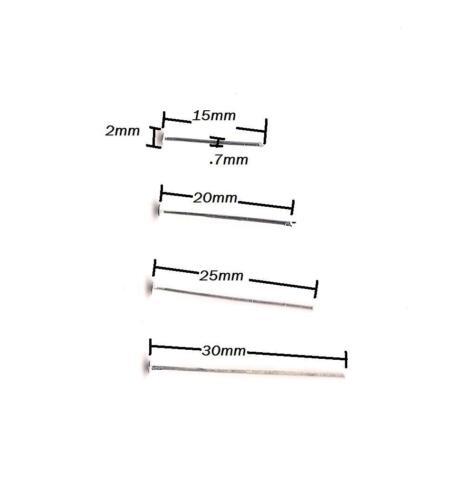 HeadPins Earring Craft Jewelry Making Pendants Pins Flat Head Findings 15mm-30mm
