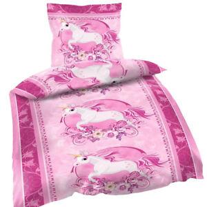 2 Tlg Bettwäsche 135 X 200 Cm Einhorn Rosa Pink Unicorn Garnitur Neu