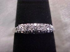 *ANTIQUE*DECO*.20ct FIVE DIAMOND WEDDING BAND-RING 14K WHITE GOLD sz6.25 **NR**
