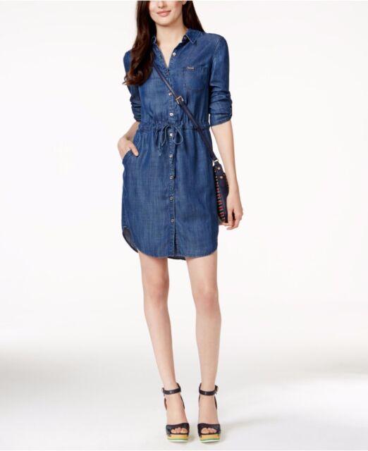 491dcd21415 Tommy Hilfiger Blue Denim Women s Size 14 Drawstring Shirt Dress ...