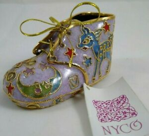 NYCO-Cloisonne-Enameled-Art-Gold-Tone-Overlay-baby-shoe-collectible-Ornament