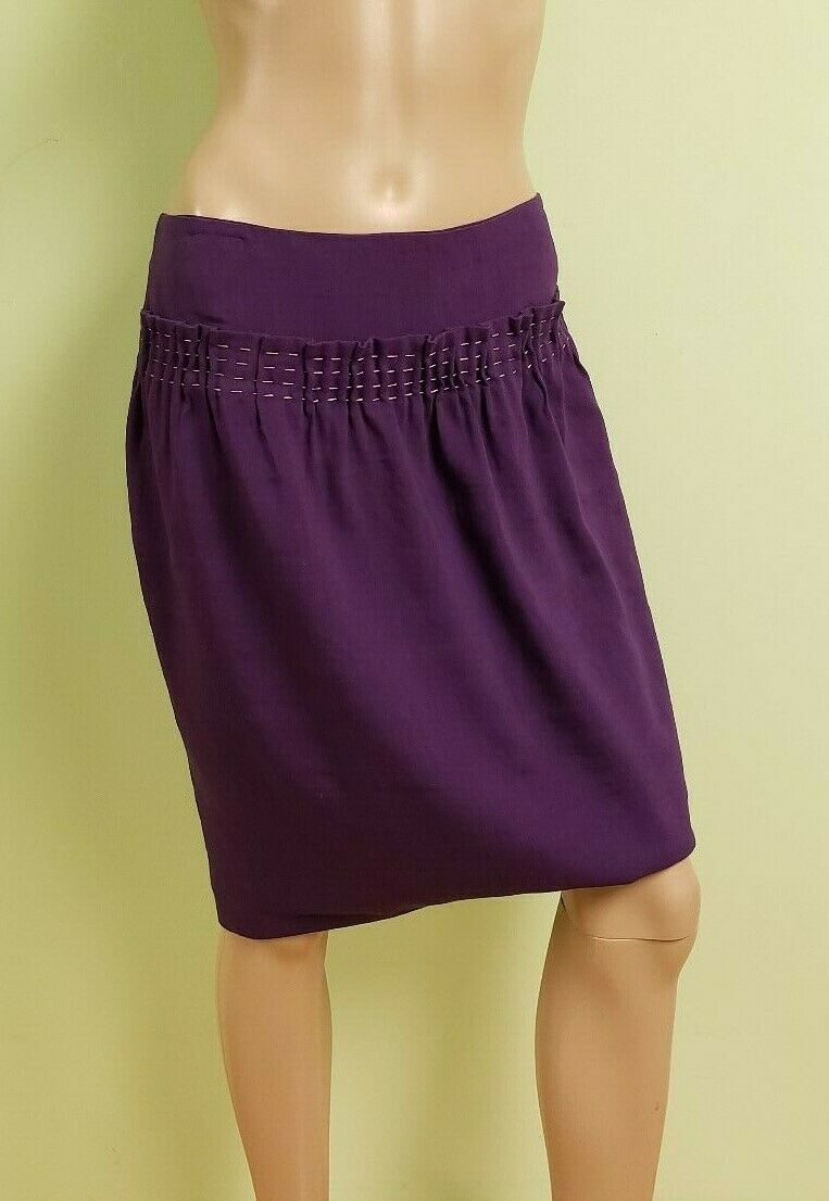 Piazza Sempione purple Linen Blend Party Career Mini Skirt Sz 4 Made in