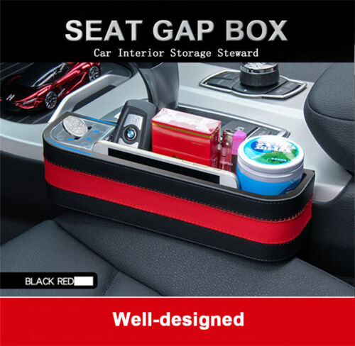 1x PU Leather+ABS Car Seat Gap Filler Storage Organizer for Stuff CellPhone Coin