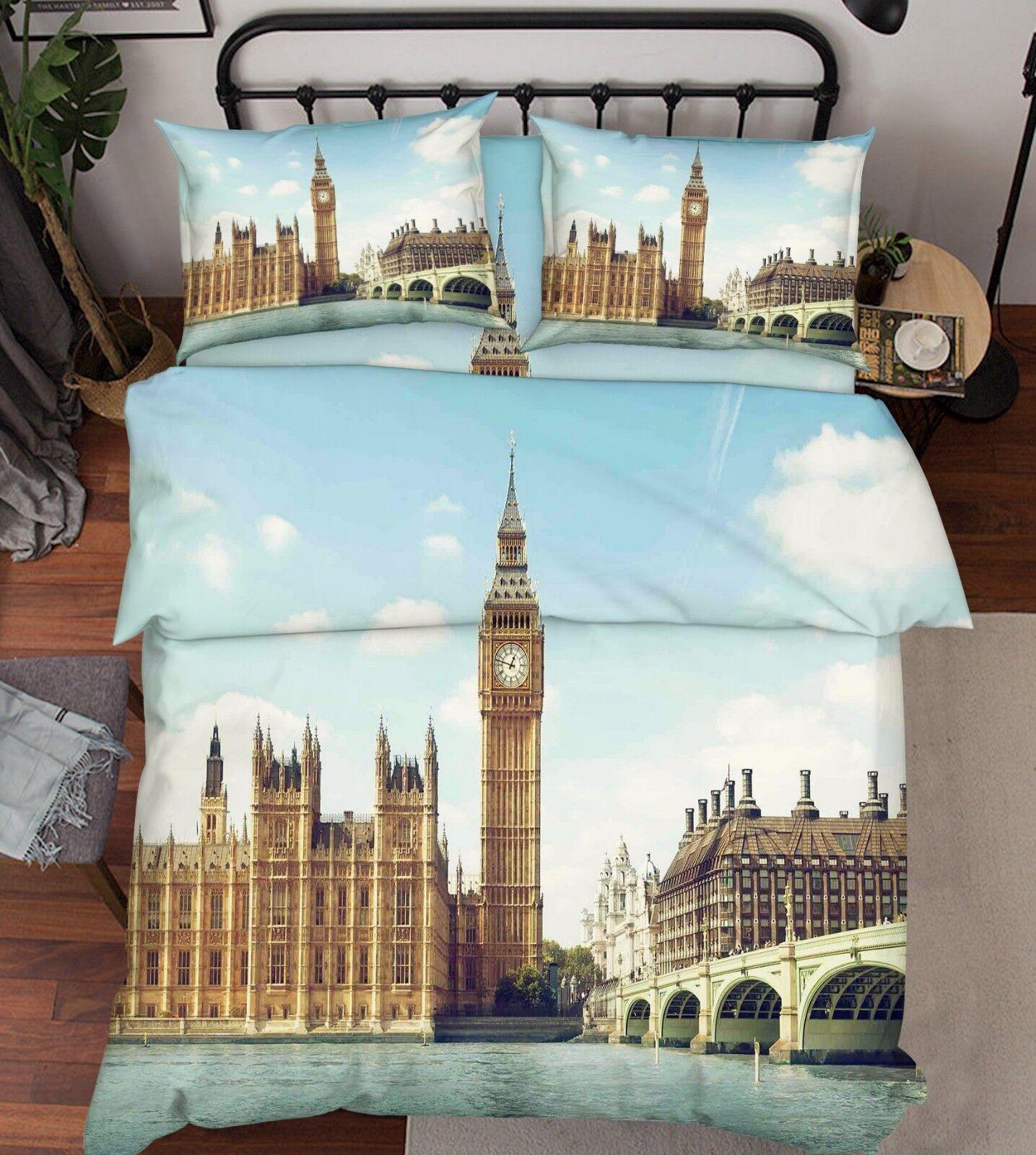 3D Big Ben Bridge 676 Bed Pillowcases Quilt Duvet Cover Set Single King UK Lemon
