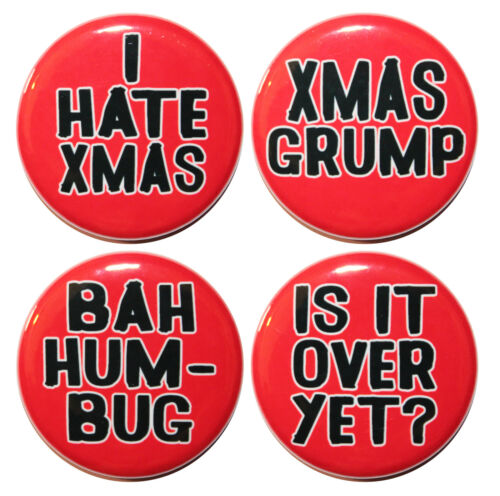 """1.25/"""" 32mm SET OF 4 Funny /""""I HATE CHRISTMAS/"""" Festive Button Badge Pin Set"""