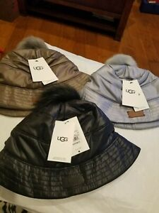 Ugg Ladies All Weather Bucket Hat With Pom Small medium NWT  85  f74e85f2bc28