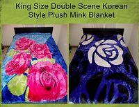 King 2ply Korean Style Hot Pink Roses / White Rose Purple Plush Mink Blanket