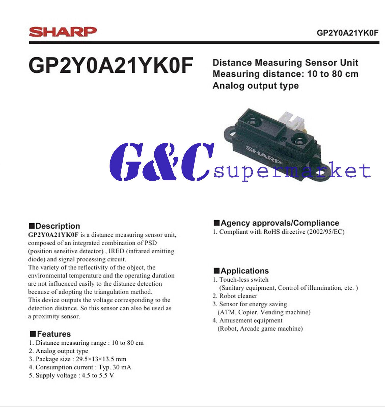 5Pcs GP2Y0A21 GP2Y0A21YK0F 10~80CM Infrared Proximity Distance Sensor Sharp ak