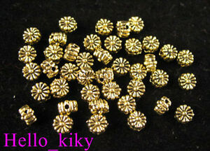 300Pcs-Antiqued-gold-plt-flower-spacer-beads-5mm-A499