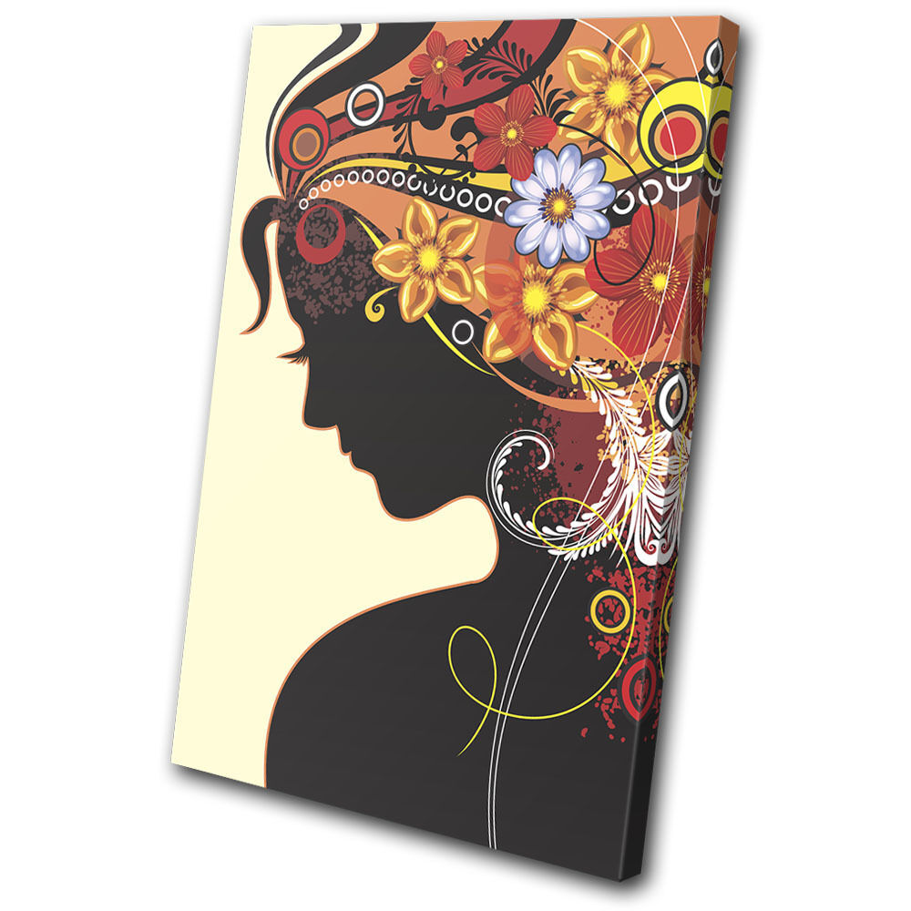 Abstract Fashion Floral Sillouhette SINGLE Leinwand Wand Kunst Bild drucken