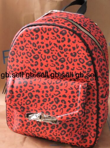 Womens Girls Red Leopard Print Faux Leather Gold Metal Flap Zip Backpack Handbag