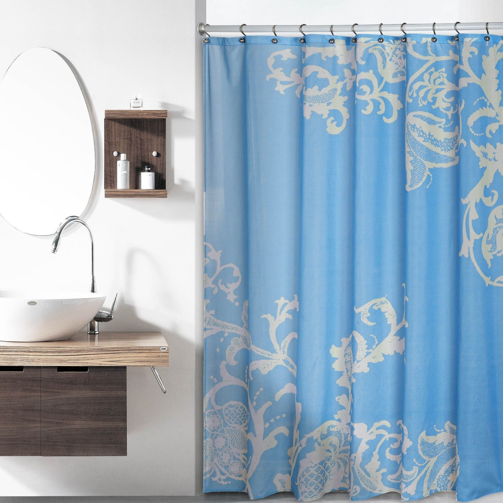 Blue Luxury Fabric Shower Curtain With Beige Floral Pattern