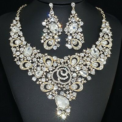 YT239 Clear Rhinestone Crystal Earrings Necklace Set Bridal Wedding Party Prom