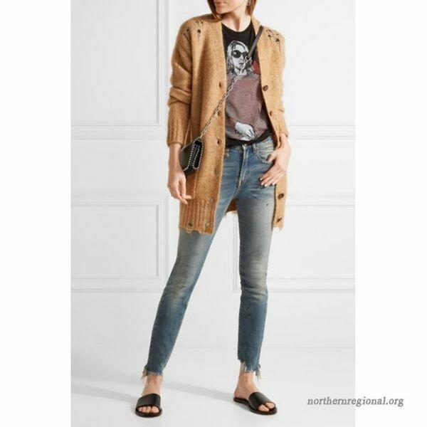 NWT R13 Jenny Mid Rise Skinny Jeans in SHILOH Distress Raw Hem 25