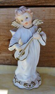 VTG NAPCO #A5577 Cream Angel Playing Mandolin Planter Bud Vase Figurine Japan