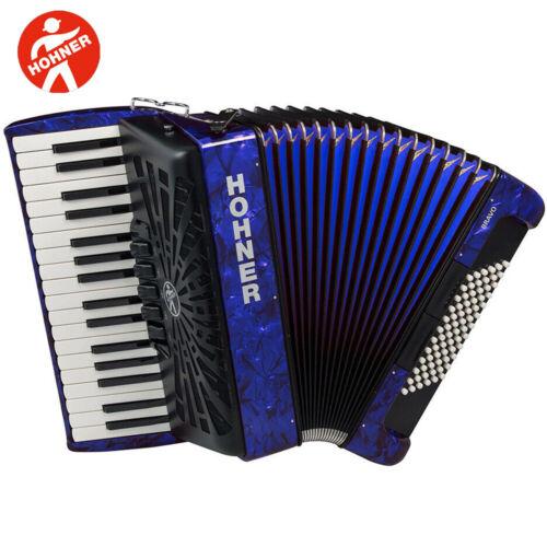 Pearl Dark Blue NEW Hohner Piano Accordion Bravo III 72 with Gig Bag /& Straps