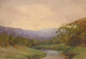 J-Anderson-Early-20th-Century-Watercolour-Autumnal-River-Landscape
