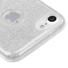 For iPhone 7 - Silver Shimmering Glitter Shiny Hard TPU Rubber Gummy Case Cover