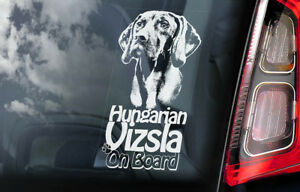 Vizsla-On-Board-Auto-Finestrino-Adesivo-Ungherese-Pointer-Cane-Firmare-V01