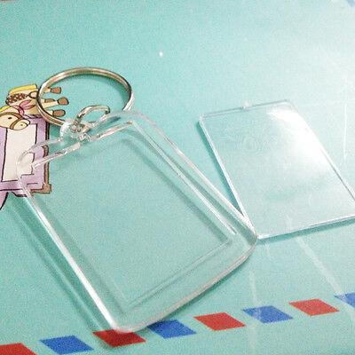 10x Brand New Clear Acrylic Plastic Blank Keyrings Photo Keyrings