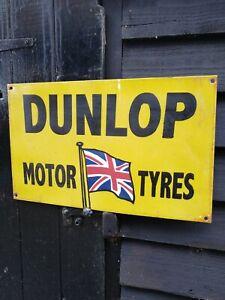 Dunlop-Letrero-Esmaltado-Motor-Neumaticos-Tires