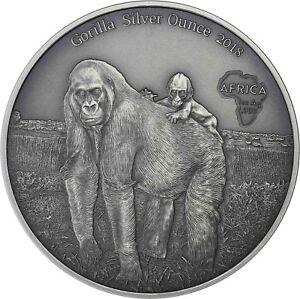 Kongo-1000-Francs-2018-Gorilla-mit-Baby-Antique-Finish-Silver-Ounce