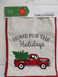 "Christmas Holiday Red TRUCK w/ TREE Table Runner 13"" x 72 ..."
