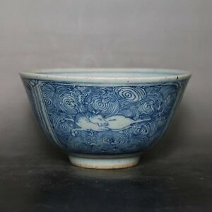 CHINESE-OLD-BLUE-AND-WHITE-SEA-WATER-DEER-GRAIN-PATTERN-PORCELAIN-BOWL