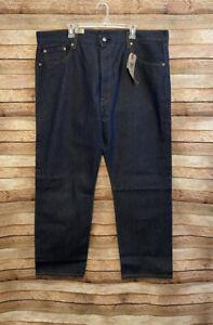 Levis Mens 501 Original Fit Rigid Dark Blue Denim Jeans ...