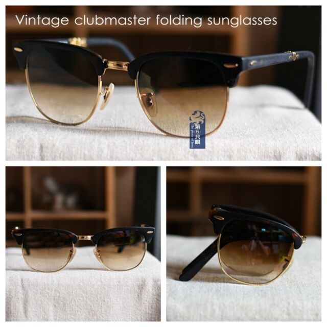 7012a334aa2 Vintage clubmaster style sunglasses Folding glass mens brown gradient lens  4pcs