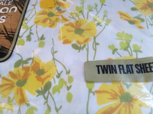 NOS Vintage YELLOW PANSIES TWIN Flat Sheet MORGAN JONES /'Princess/' ~ NEW Pkg