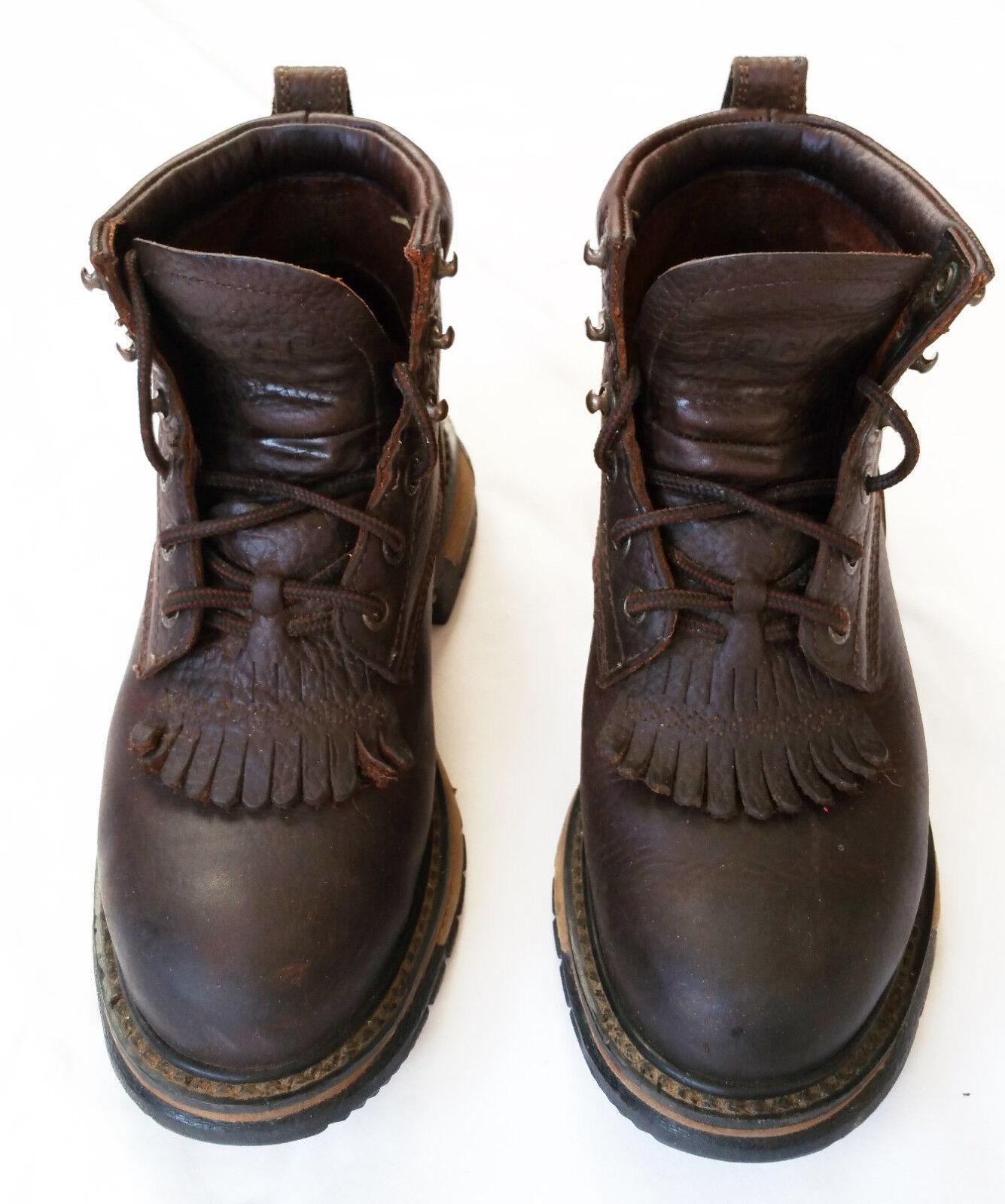 damen Rocky Western Lace up Cuffed Ankle Keltie Stiefel US Größe 6.5 braun Leather