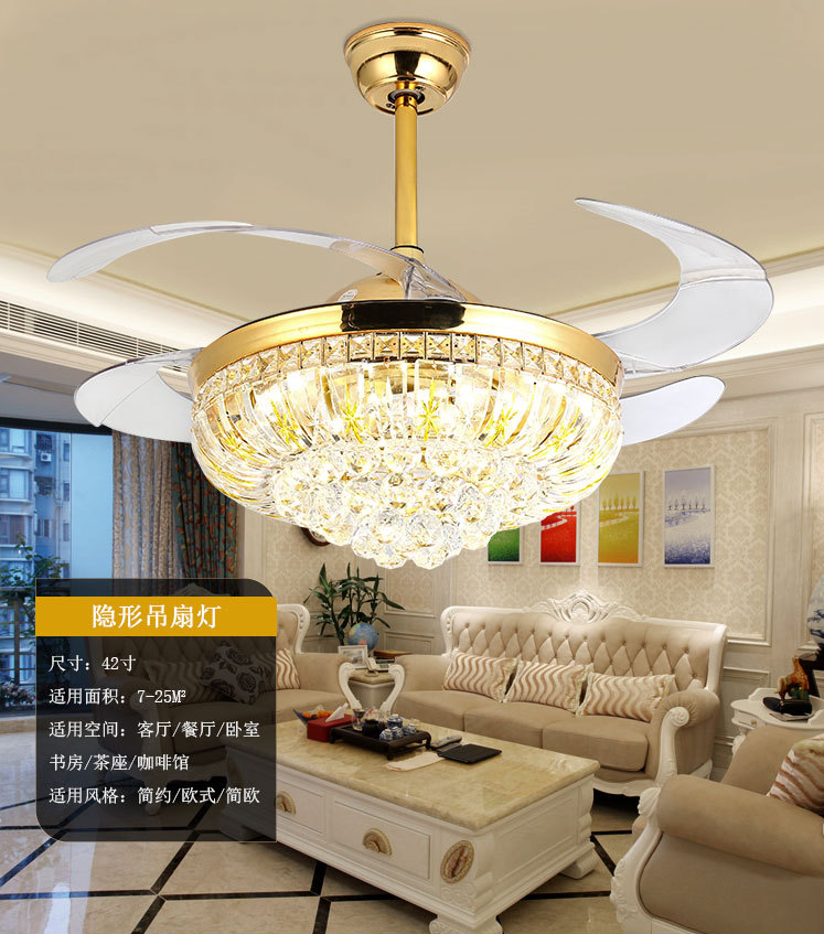 42 Quot Rose Gold Gold Crystal Invisible Fan Light Lamp Chandelier Led Ceiling Decor Ebay
