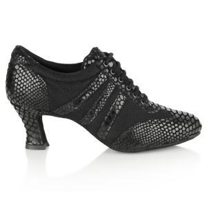 Ray Rose 418 TiberBlack Croc Leather//Black Mesh Ballroom Latin Practice Shoes