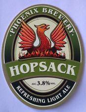 Beer pump badge clip PHOENIX brewery HOPSACK cask ale pumpclip front Heywood