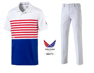 ee2f6d67 Puma Outfit Jackpot 5 Pocket Golf Pants White-CK6 Flag Shirt Polo ...