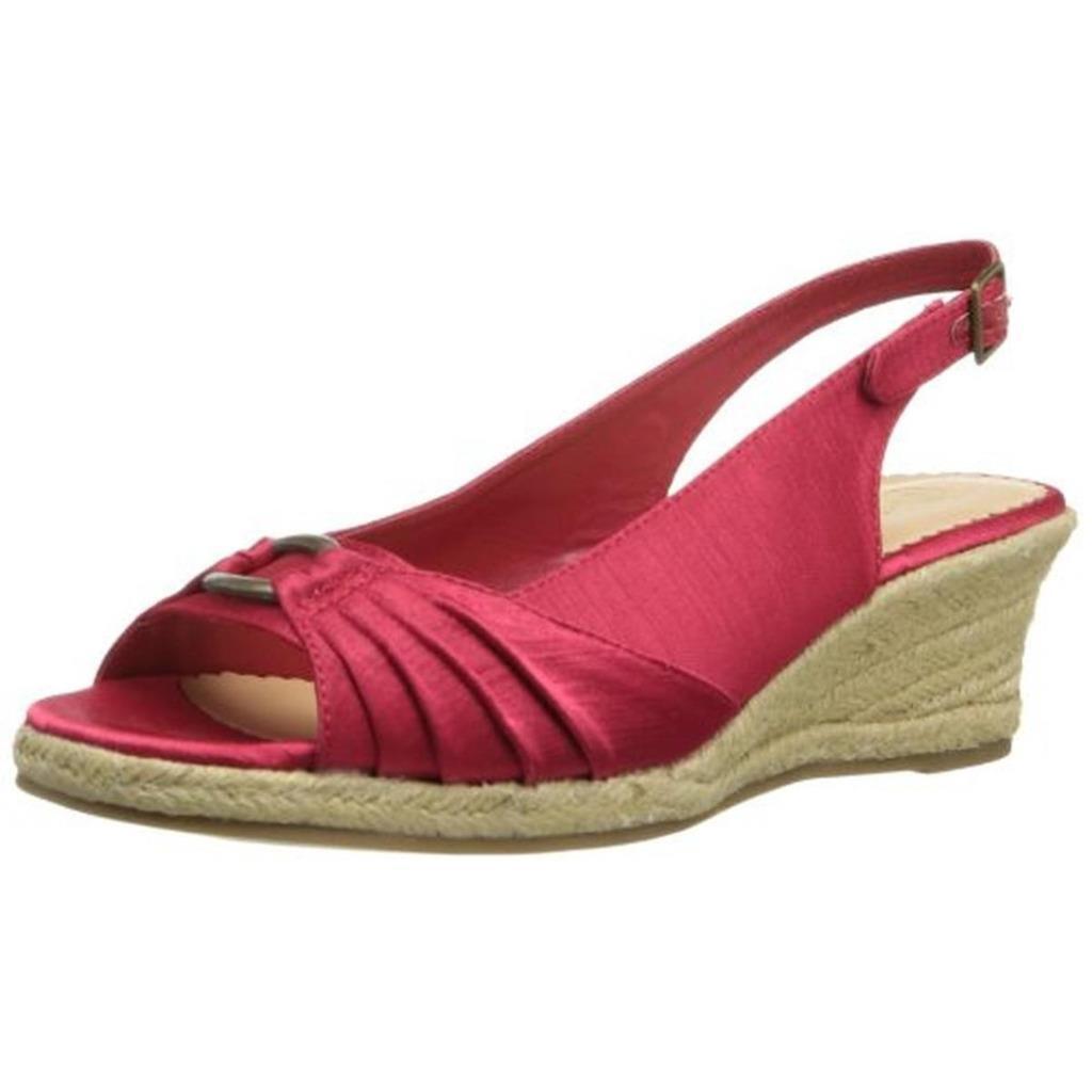 BELLA VITA $94 Red Satin Peep-Toe Wedge Heels Heels Wedge Slingbacks Shoes Sandals 12 N NWT e34438